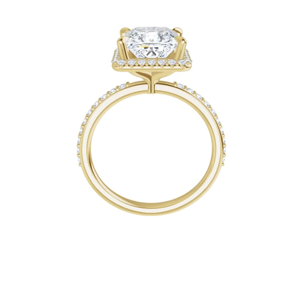 Eve - 14k yellow gold emerald cut halo moissanite ring featuring lab diamond accents and claw prongs