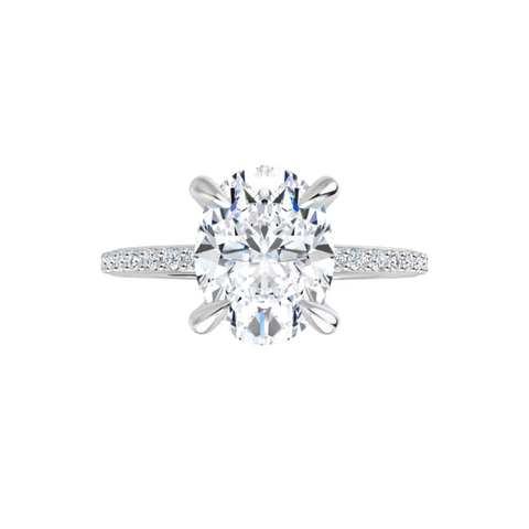 4-prong 14 k white gold oval brilliant-cut moissanite solitaire with a lab diamond band and four tiger claw prongs