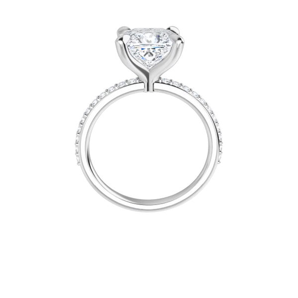 Grace - 4-prong 14 k white gold princess-cut moissanite solitaire with a lab diamond band and four tiger claw prongs