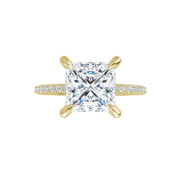 Grace - 4 prong 14k yellow princess-cut moissanite ring with a lab diamond band and four  claw prongs
