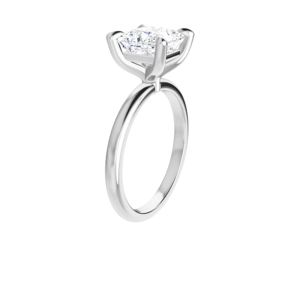 Jewel - 14K white gold princess cut moissanite plain band ring