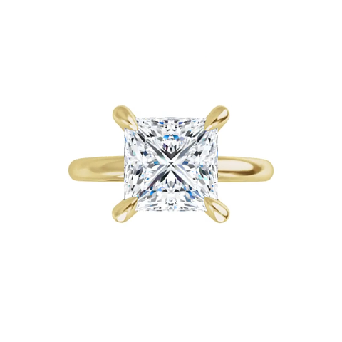 Jewel - 4-prong 14 k yellow gold princess cut moissanite ring with gallery and claw prongs