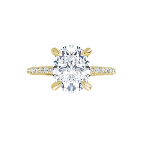 Grace - 4 prong 14k yellow gold oval brilliant-cut moissanite ring with a lab diamond band and four tiger claw prongs