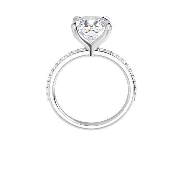 Grace - 4-prong 14 k white gold cushion cut moissanite solitaire with a lab diamond band and four tiger claw prongs