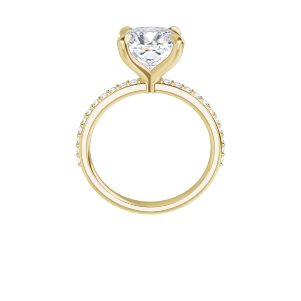 Grace - 4 prong 14k yellow gold cushion-cut moissanite ring with a lab diamond band and four tiger claw prongs