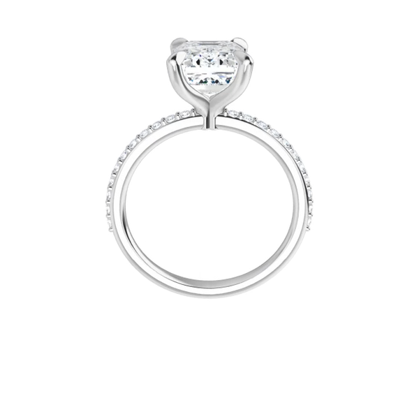 Grace - 4-prong 14 k white gold emerald cut moissanite solitaire with a lab diamond band and four tiger claw prongs
