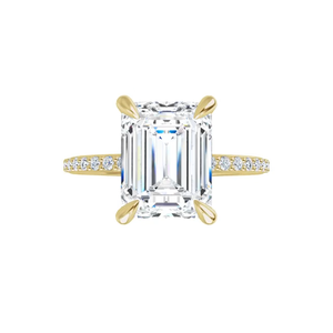Grace - 4 prong 14k yellow gold emerald-cut moissanite ring with a lab diamond band and four tiger claw prongs