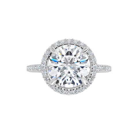 14 k white gold lab diamond halo moissanite ring with round brilliant-cut moissanite, lab diamond band and four tiger claw prongs