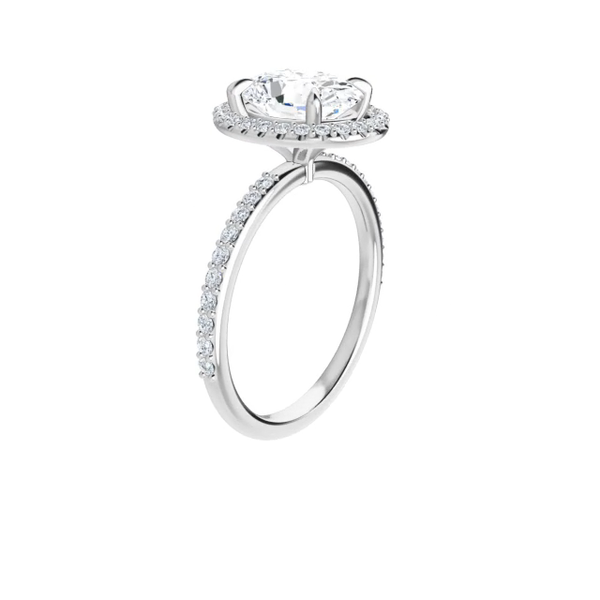 14 k white gold lab diamond halo oval moissanite ring with oval brilliant-cut moissanite, lab diamond band and four tiger claw prongs