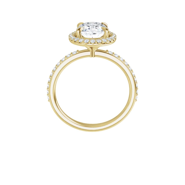 Eve - 14 k white gold lab diamond halo cushion moissanite ring with cushion-cut moissanite, lab diamond band and four tiger claw prongs