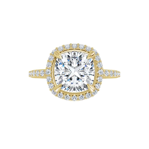 Eve - 14k yellow gold cushion cut halo moissanite ring featuring lab diamond accents and claw prongs