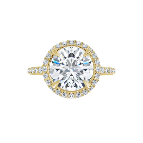 Eve - 14k yellow gold round brilliant cut halo moissanite ring featuring lab diamond accents and claw prongs