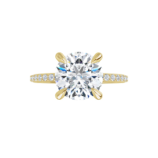 Grace - 4-prong 14 k yellow gold round brilliant-cut moissanite ring with a lab diamond band and four tiger claw prongs