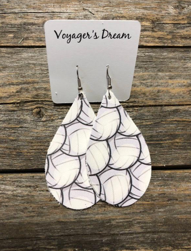 Volleyball earrings genuine leather