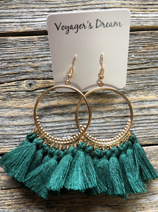 Large Hoop Tassels - Green