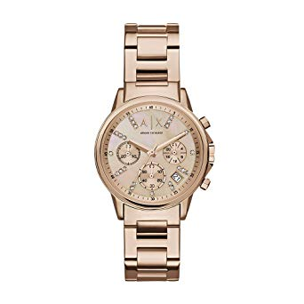 Armani Exchange Chronograph Rose Mother of Pearl Dial Ladies Watch (AX4326)