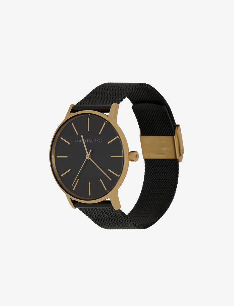 Armani Exchange Gold-Toned Black Mesh Band Watch (AX5548)