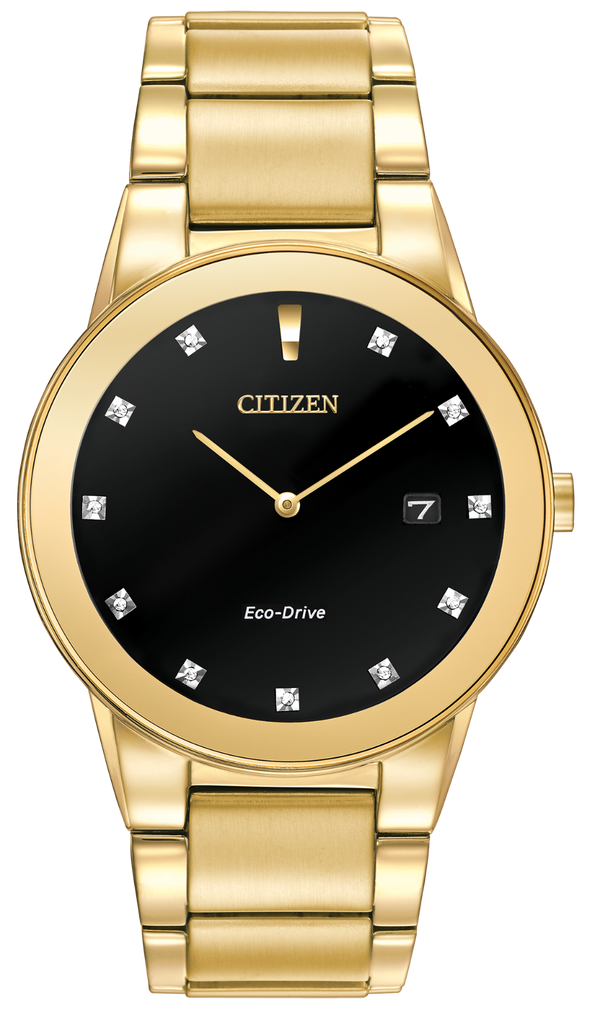 Citizen Axiom Black Dial Gold-tone Diamond Men's Watch (AU1062-56G)