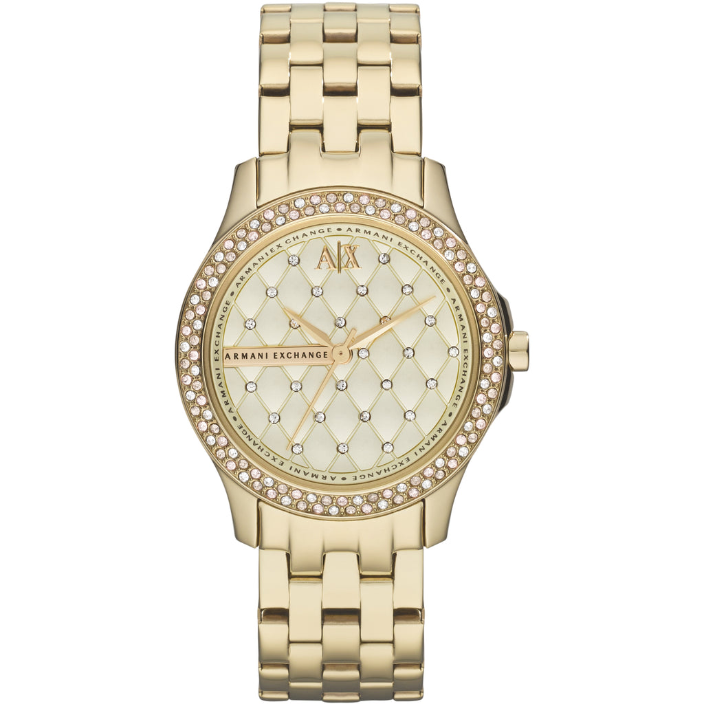 Armani Exchange Lady Hamilton Champagne Dial Gold-plated Unisex Watch (AX5216)