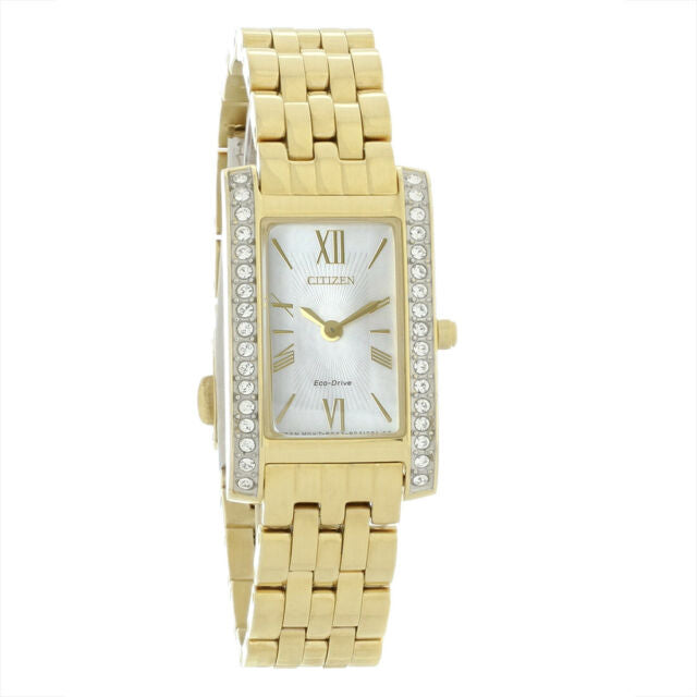 Citizen Silhouette Crystal White Mother of Pearl Dial Ladies Watch (EX1472-56D)