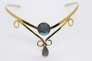 Double Round & Pear Shaped Labradorite Stone | Brass Crown