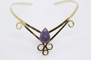 Single Pear Shaped Charoite Stone | Brass Crown