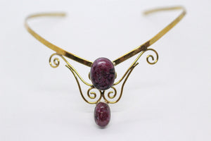 Double Oval Shaped Ruby Zoisite Stones | Brass Crown