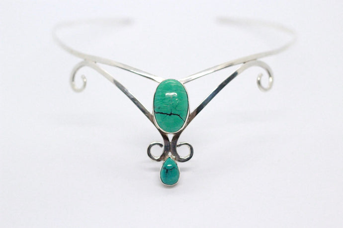 Double Oval Shaped Turquoise Stones | 925 Sterling Silver Crown