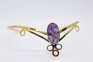 Single Large Oval Shaped Raw Amethyst Stone | Brass Crown