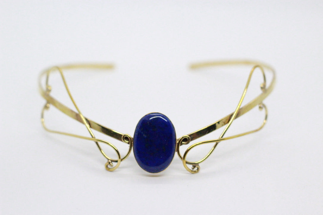 Single Oval Shaped Lapis Lazuli Stone | Brass Elven Crown