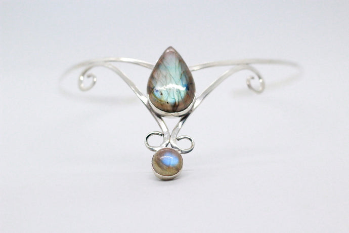 Double Pear Drop Shaped Labradorite Stones | 925 Sterling Silver Crown