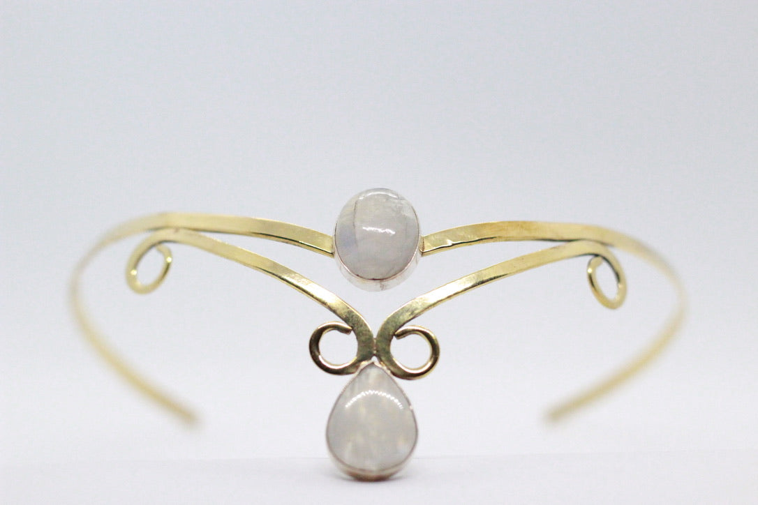 Double Oval & Pear Shaped Moonstone | Brass Crown