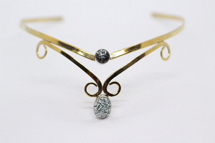 Double Oval Shaped Black Rutile Quartz Stone | Brass Elven Crown