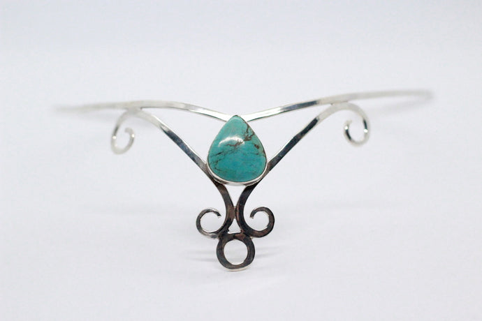 Single Pear Shaped Turquoise Stone | 925 Sterling Silver Crown