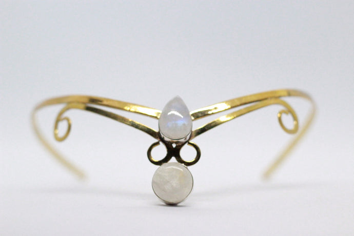 Double Pear & Round Shaped Moonstone | Brass Crown