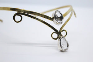 Double Crystal Oval & Pear Shaped Stone | Brass Crown