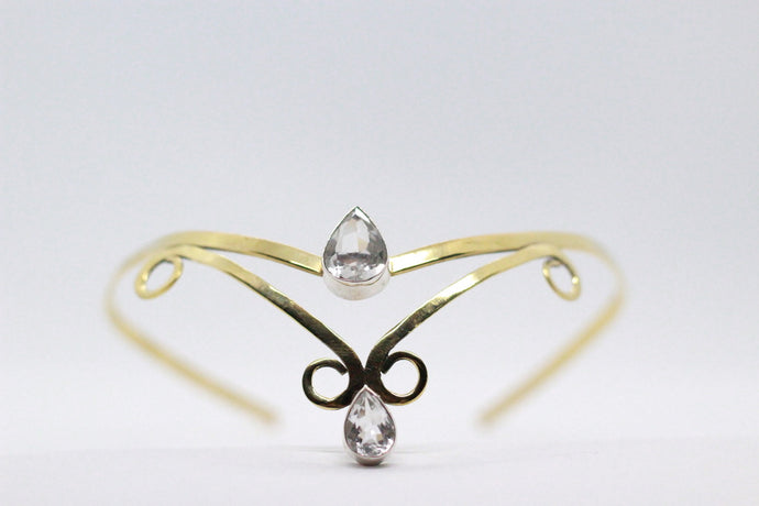 Double Crystal Pear Shaped Stone | Brass Crown