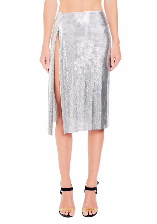 Draped Wrap Mini Mesh Skirt