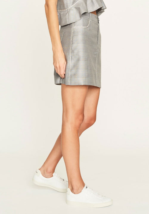 Silk Wool Suiting Mini Skirt