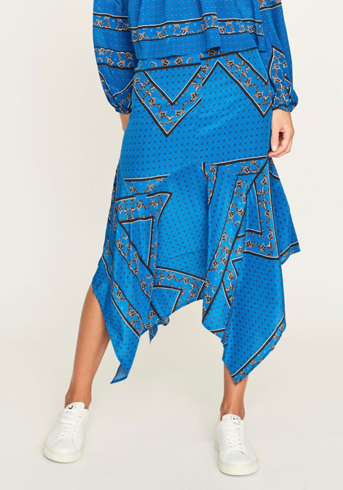 SANDWASHED SILK SKIRT LAPIS BLUE