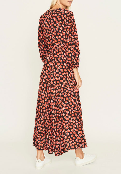 PRINTED CREPE MAXI DRESS FIERY RED