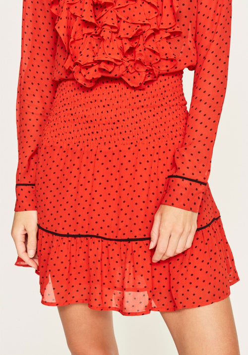 PRINTED GEORGETTE SKIRT FIERY RED