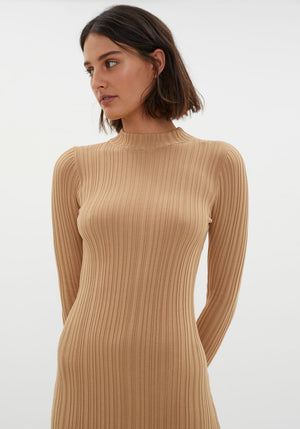 Finlay Open Back Long Sleeve Dress Camel