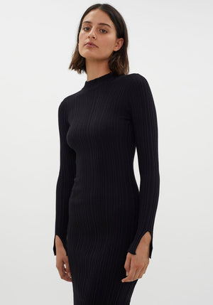 Finlay Open Back Long Sleeve Dress Black