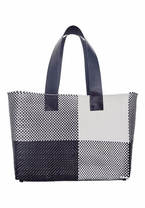 Large Black White Tote W/ Leather Strap