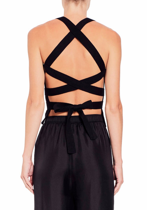 CROSS BACK TOP BLACK