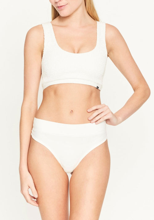 Quinn Shirring Cut Crop Ivory