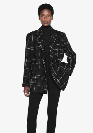 Kaia Blazer Black Plaid