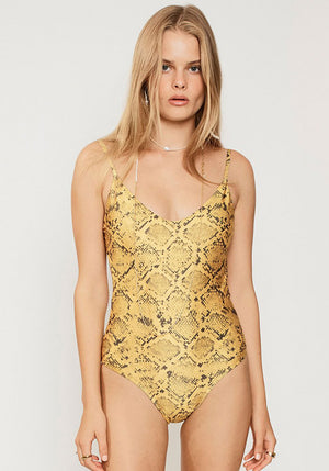 Rae Scoop One Piece Yellow Snake Print
