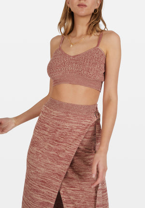 Dina Knit Crop Top Mottled Maroon